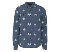 Bluse mit Sternen-Print blau
