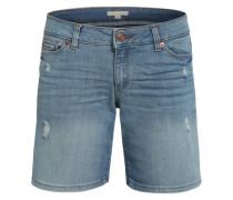 Jeansshorts mit Destroyed-Effekten blau