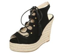 Sandalette mit Keilabsatz in Bast-Optik schwarz