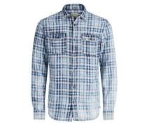Kariertes Langarmhemd blau / weiß