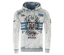 Oil Washed Hoody mit Front-Print grau