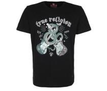 T-Shirt 'snake Guitar' creme / dunkelgrün / hellrot / schwarz