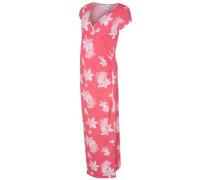Blumenprint-Umstandskleid lang koralle / weiß