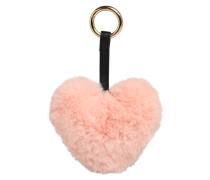 Schlüsselanhänger mit Plüschherz rosa