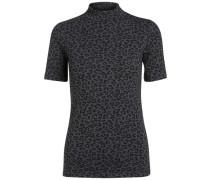 Leopardendruck-Shirt Kurzarm grau