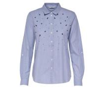 Detailreiches Langarmhemd blau / weiß