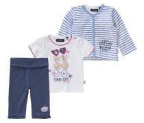 Baby Set Sweatjacke + T-Shirt + Hose für Mädchen blau