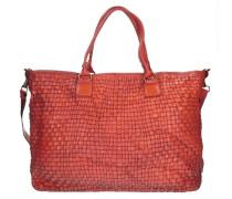 Borchie Con Fiore Shopper Tasche Leder 43 cm rot