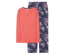 Schlafanzug 'Calista' navy / koralle