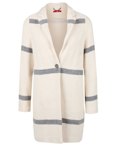 s oliver damen s oliver jacquard mantel mit streifen beige. Black Bedroom Furniture Sets. Home Design Ideas