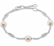 Silberarmband silber / perlweiß