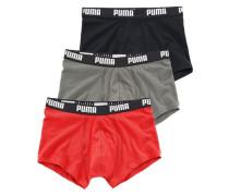 Hipster (3 Stück) mit Logodruck auf breitem Bund grau / rot / schwarz