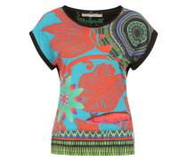 Shirt 'Amaia' türkis / mischfarben / koralle
