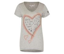 T-Shirt mit Print graumeliert / pfirsich