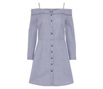 Gestreiftes Off-Shoulder-Kleid blau / weiß