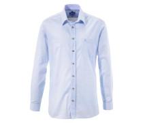 Trachtenhemd mit kleiner Stickerei hellblau