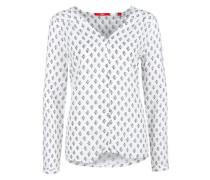Viskose-Bluse mit Musterprint weiß