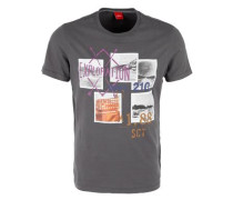 Slim: T-Shirt mit Print-Collage grau