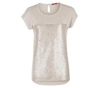 Shirt mit Pailletten-Front cappuccino