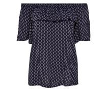 Bedruckte Bluse mit 2/4 Ärmeln nachtblau / weiß