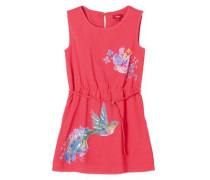 Kleid mit Pailletten mischfarben / himbeer