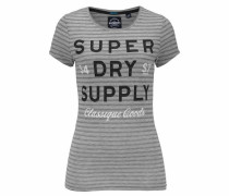 T-Shirt 'classique Goods Long Line Tee' grau / dunkelgrau / schwarz / weiß