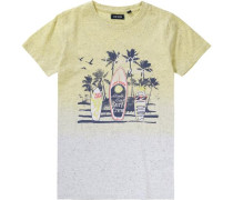 T-Shirt marine / hellgelb / weißmeliert