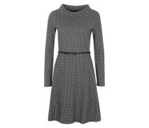 Gemustertes Kleid grau / schwarz
