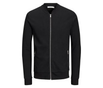 Baseball-Reißverschluss-Sweatshirt schwarz