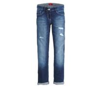 Kimi Straight: Used-Jeans blue denim