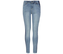 Skinny Fit Jeans Kurz geschnittene Super-Stretch- blau / hellblau