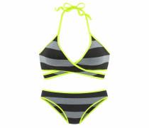 Triangel-Bikini neongelb / grau / schwarz