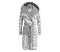 Striped Hoodie Bademantel grau / weiß