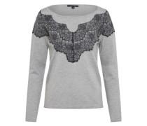 Langarm-Pullover graumeliert / schwarz