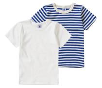 Doppelpack Unterhemden für Jungen blau / naturweiß