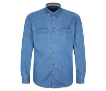 Regular Hemd in Jeans-Optik blue denim