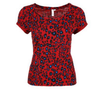 T-Shirt mit Allover-Muster rot