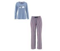 Pyjama blau / lila / weiß