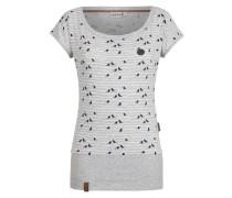 Shirt 'Wolle Spatzl VI' graumeliert / schwarz / weiß