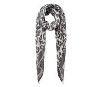 Langer Schal Animal-Print grau