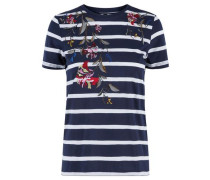 T-Shirt Besticktes kurzärmeliges Jersey- nachtblau / weiß