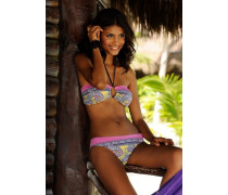 Bandeau-Bikini hellblau / limone / pink