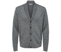 Strick-Cardigan Merinowoll-Mix grau