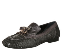 Slipper mit All Over-Paillettenbesatz grau