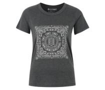 T-Shirt 'Paisley Tree Crew' mit Front-Print dunkelgrau / weiß