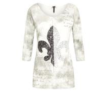 Shirt 'Vibe' silbergrau / perlweiß