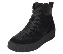 Sneaker mit Glitzersteinbesatz schwarz