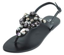 Flache Leder-Sandalen schwarz / silber