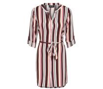 gestreiftes Hemd-Kleid gelb / pink / schwarz / weiß