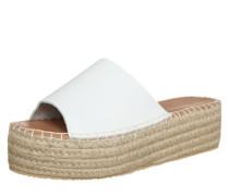 Leder-Pantolette mit Plateau weiß